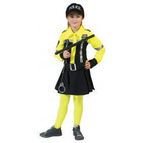 Neon Geel Politie Meisje Kostuum
