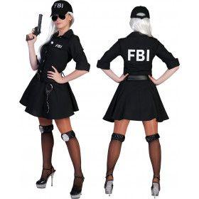 Zwart Kort Fbi Arrest Politie Agente Jurk Vrouw