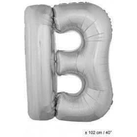 Letterballon B Zilver