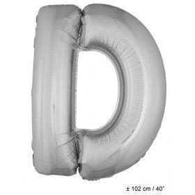 Letterballon D Zilver