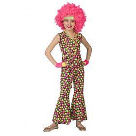 Fluor Flower Power Goes Disco Meisje Kostuum