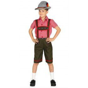 Groene Timo Tiroler Lederhose Met Rood Shirt Jongen Kostuum