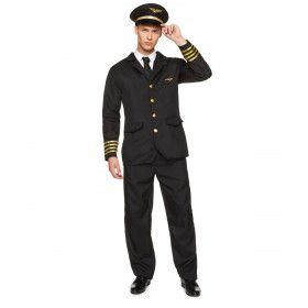 Gezagvoerder Piloot Intercontinentale Vlucht Man Kostuum