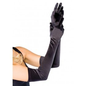 Satijnen Handschoenen Extra Lang Zwart