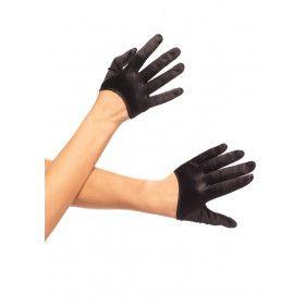 Korte Satijnen Handschoenen Zwart