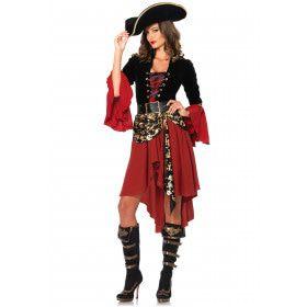Chique Bonte Pirate Vrouw Kostuum