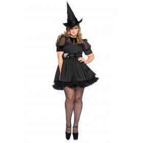Betoverende Vintage Zwarte Heks (Plus Size) Vrouw Kostuum