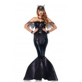 Zwarte Zeemeermin Draka Vrouw Kostuum