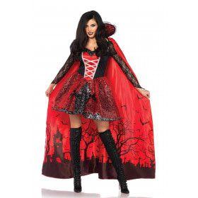 Rode Vurige Vampier Vrouw Kostuum