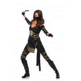 Spannende Zwarte Ninja Vrouw Kostuum