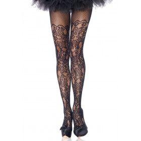 Panty Bloemen Guirlande Zwart Plus Size