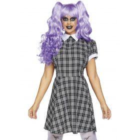 Ruitjes Schoolmeisje Poppen Vrouw Kostuum