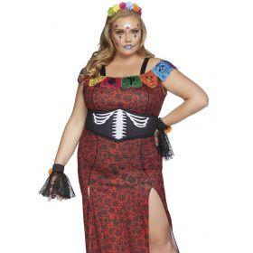 Dulcea Deluxe Day Of The Dead Mexico Plus Size Vrouw Kostuum