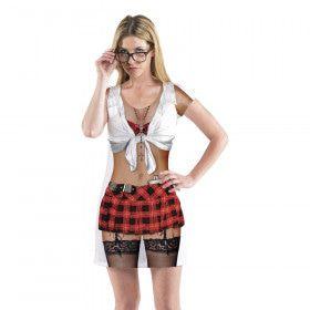 T-Shirt Pikant Schoolmeisje Callgirl College Vrouw Kostuum