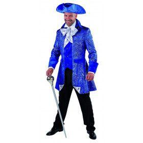 Rijk Versierde Brokaat Mantel Adel Blauw