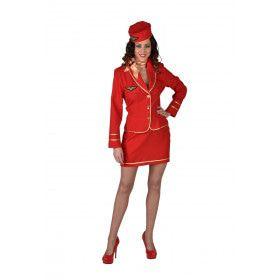 Stewardess Turbulente Vlucht Vrouw Kostuum