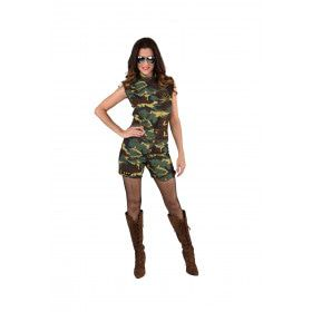 Camouflage Hotpants Verhitte Strijd Vrouw