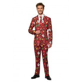 Rood Fonkelend Kerstmis Symbolen Man Kostuum