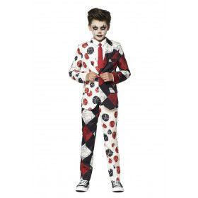 Halloween Bloedvaten Enge Harlekijn Jongen Kostuum