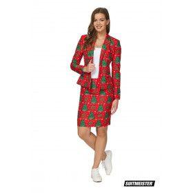 Klassieke Rode Kleuren Kerstboom Kostuum Vrouw