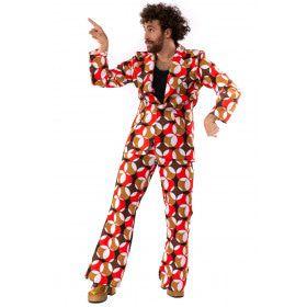 Jaren 70 Hippie Soul Disco 60s Psychedelische Cirkels Man Kostuum