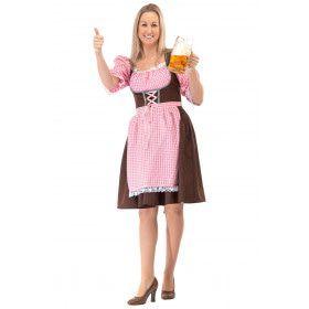 Lang Roze Bruin Oktoberfest Dirndl Tirol Bier Vrouw Kostuum