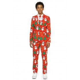 Rood Kerstman Kerstboom Kerstfeest Tiener Jongen Kostuum