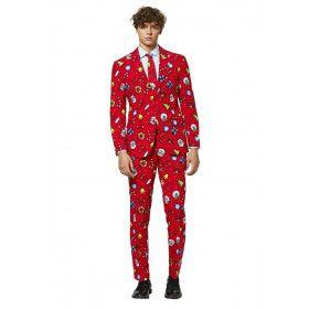 Kenmerkend Rood Kerst Motieven Man Kostuum
