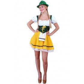Vrolijke Tiroler Jurk Groen-Geel Vrouw