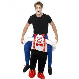 Op De Rug Van Een Horror Clown Man Kostuum