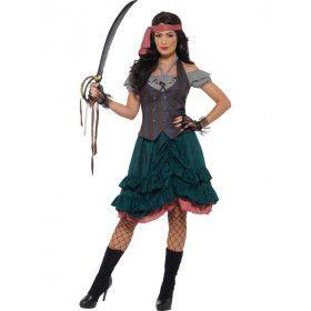Losse Rokken Losse Zeden Piraat Vrouw Kostuum