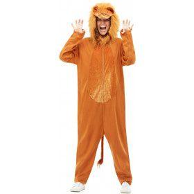 Koning Van De Dieren Oranje Leeuw Jumpsuit Kostuum