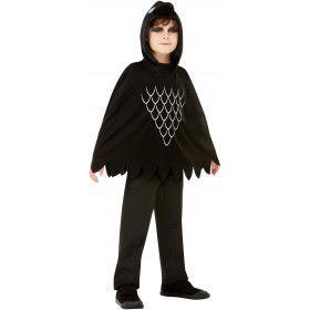 Zwarte Krassende Kraai Poncho Kind