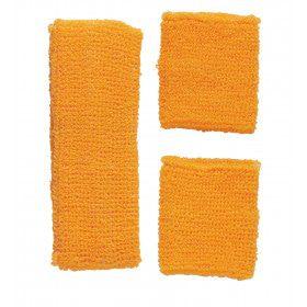 Atletische 80s Zweetband Set Neon Oranje