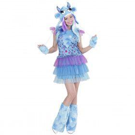 Blauw Monster Meisje Ms Comic Strip Vrouw Kostuum