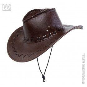 Cowboyhoed Lederlook Met Decoratie, Bruin