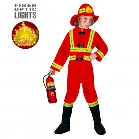 Stoere Brandweerman, Fiberoptisch Kostuum Jongen