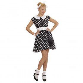 Jurk 50s Zwart Ms Diner Kostuum Vrouw