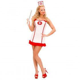 Sexy Verpleegster Wit In Lycra Contour Kostuum Vrouw