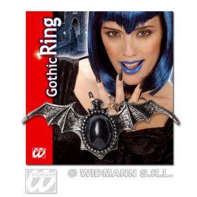 Ring Vleermuis Met Zwarte Gemsteen