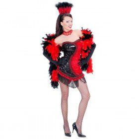 Las Vegas Showgirl Zwart / Rood Chorous Line Kostuum Vrouw
