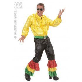 Zwarte Broek Fluweel Met 3 Kleuren Pailletten Man