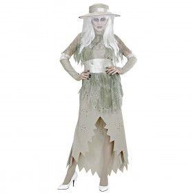 Spookachtige Dame Witte Horror Dame Vrouw Kostuum