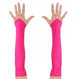 Tachtiger Jaren Vingerloze Handschoenen Satijn, Neon Roze