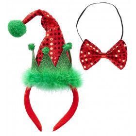 Grappige Kerst Mini Santa Mutsje Met Strikje, Pailletten