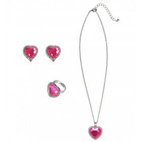 Prinses Ketting, Oorbellen, Armband Strass Roze