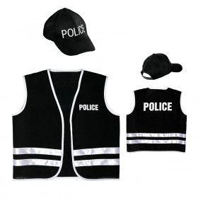Zwart Politievest Met Cap Kind Kind