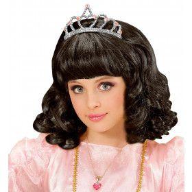 Schoonheidskoningin Pruik, Prinses Zwart Met Kroon Kind