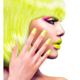 Nagels Airbrush Neon Geel 80s Lady
