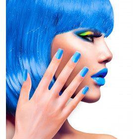 Nagels Airbrush Neon Blauw 80s Lady